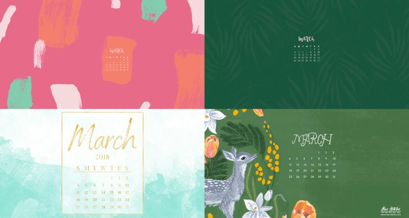 march 2018 calendar background