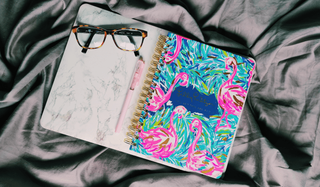 Lilly Pulitzer Flamingo Planner with Marble Apple Macbook Cover