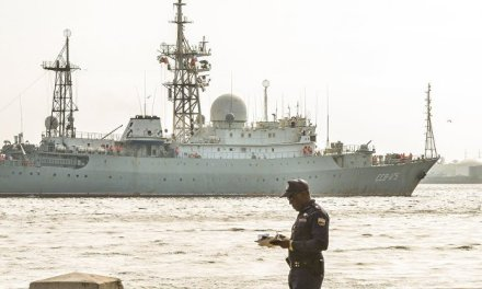 Russian spy ship returns off U.S. coast, near sub base