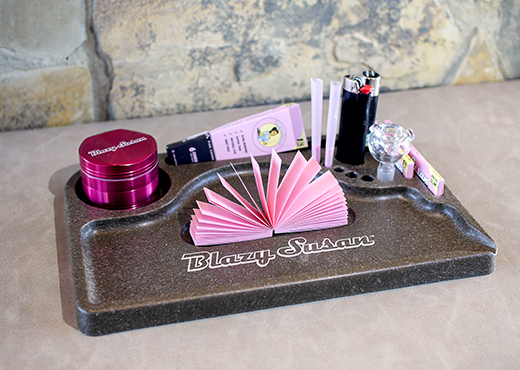 Blazy Susan Rolling Tray with Pink Rolling Tips