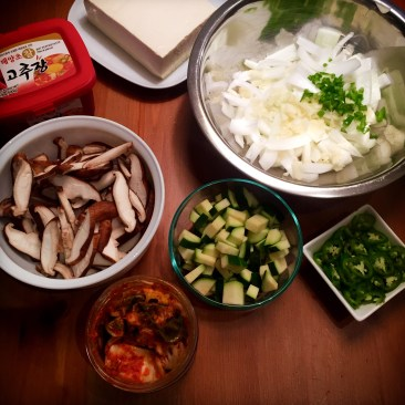prepping for spicy korean soup