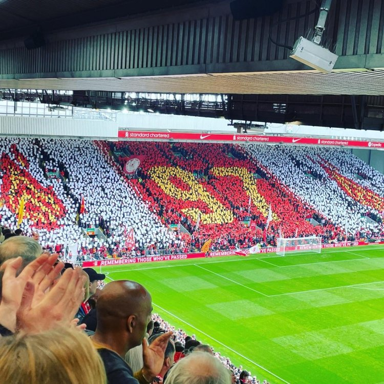 The Liverpool FC fans shows a display at Anfield to pay tribute to the 97 lives lost at the Hillsborough disaster on the 15th April 1989.