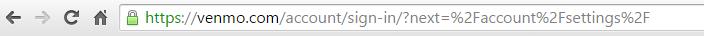 Venmo login page URL parameter