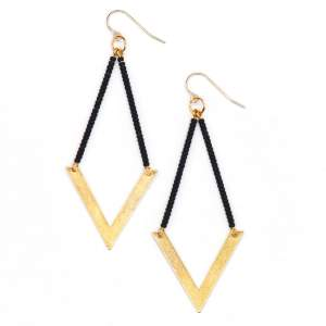 Geometric Beaded Chevron Earring - Black Matte