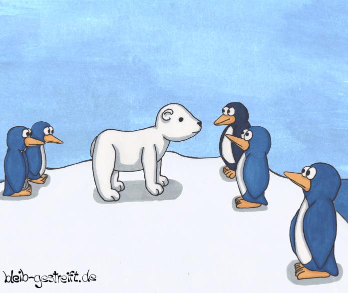 Eisbär mit Pinguinen Illustration