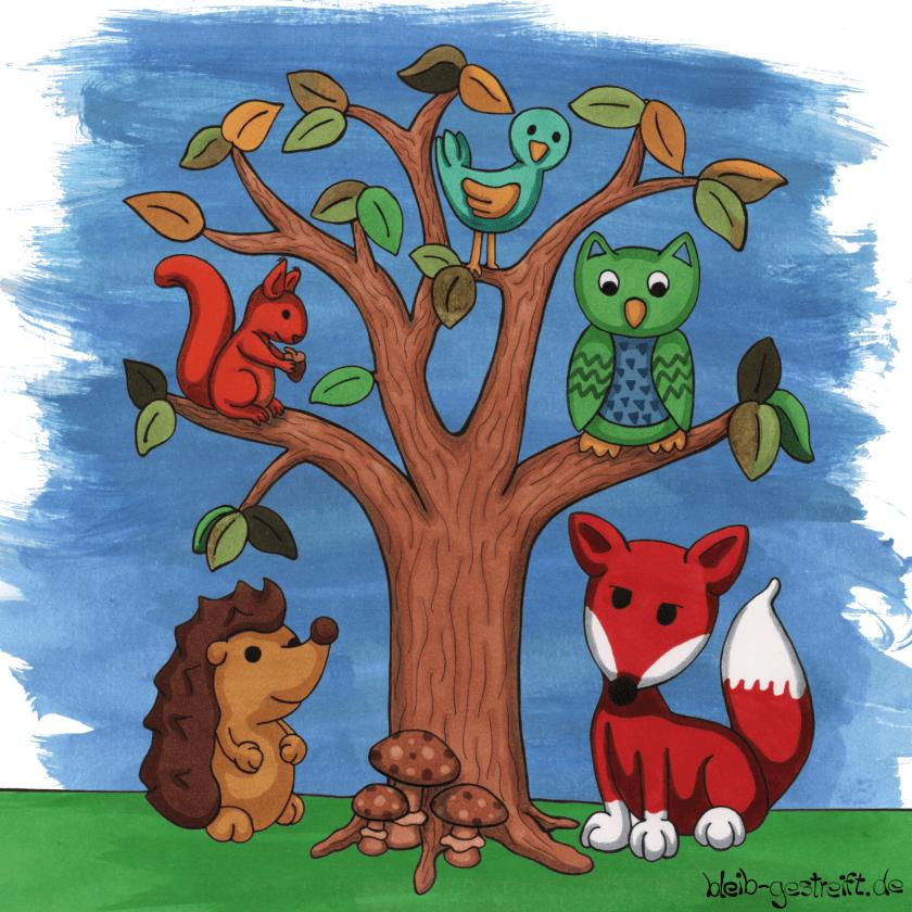 Kinderbuchillustration Fuchs, Igel und Eule