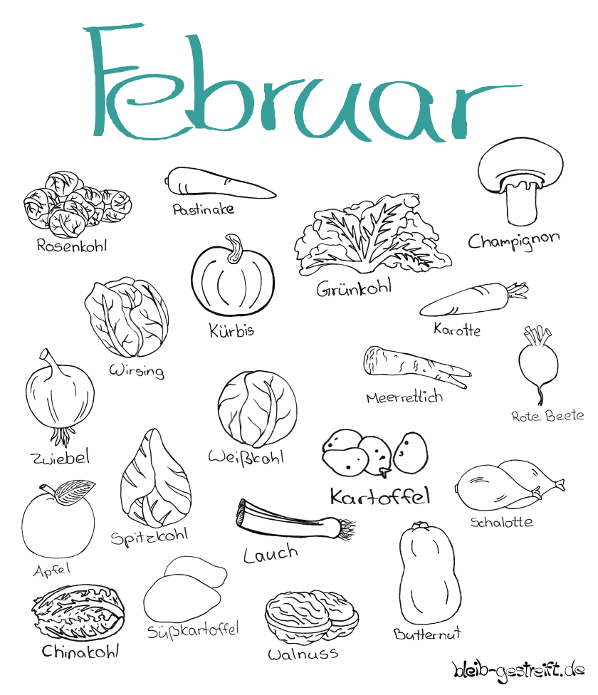 Doodle Saisonkalender Februar