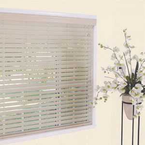 Faux wood blinds from Blended Blinds custom window coverings