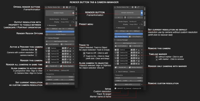 User interface of the Camera Manager