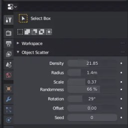 Object Scatter addon user interface
