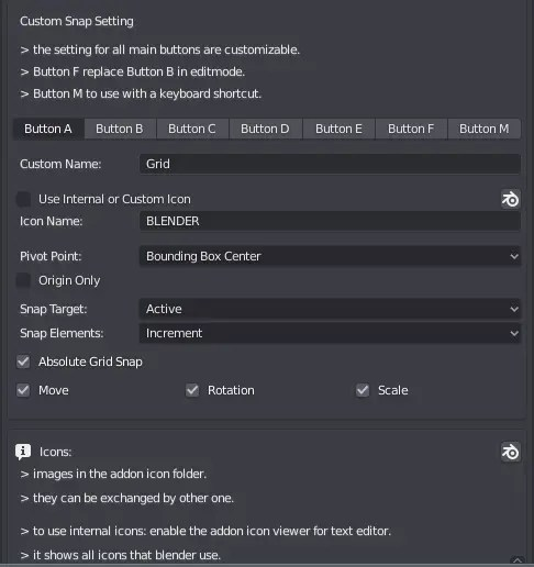 SnapSet Addon  Preferences