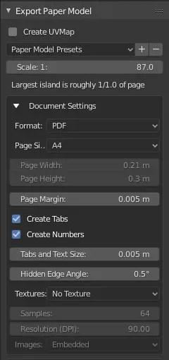 UI of the Export Paper Model addon - Part 1