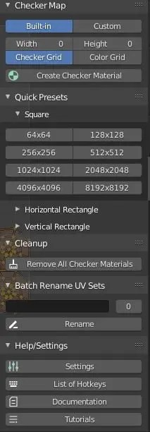 Showing the Quick Presets, Cleanup, Help and Settings of the addon