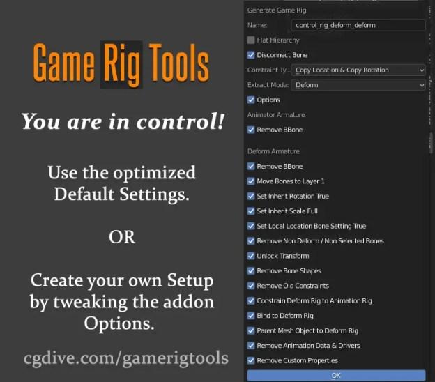 game rig tools settings