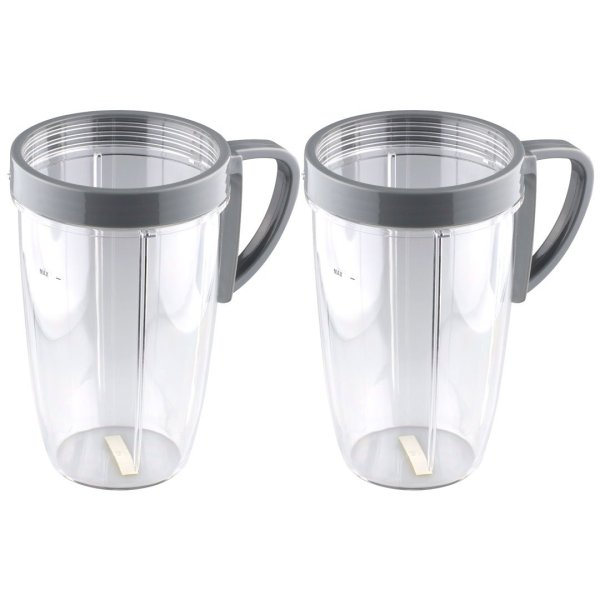 2 Pack 24 oz Tall Cups with Handled Lip Ring Replacement Parts Compatible with NutriBullet 600W 900W Blenders NB-101B NB-101S NB-201
