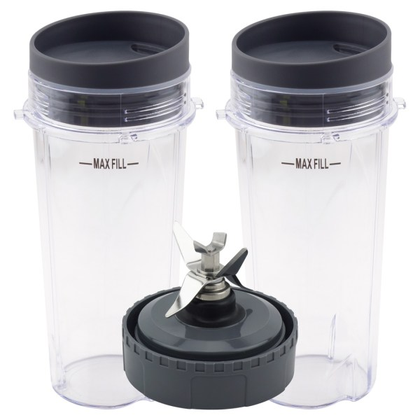 2 Pack 16 oz Cup with Lid and Extractor Blade Model 303KKU 305KKU 307KKU for Nutri Ninja BL660 BL740