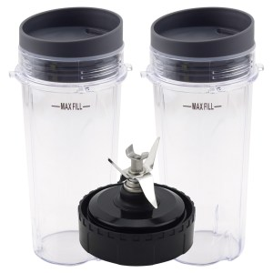 2 Pack 16 oz Cup with Lid and Extractor Blade Replacement Parts 322KKU770 for Nutri Ninja BL770 BL771 BL772 BL773CO