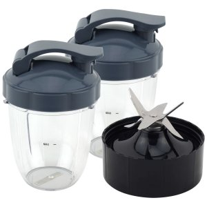 2 Pack 18 oz Short Cup with Flip To Go Lid + Extractor Blade for NutriBullet Lean NB-203 1200W Blender