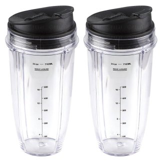 2 Pack Nutri Ninja 24 oz Cups with Sip & Seal Lids Replacement Model 483KKU486 408KKU641