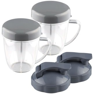 2 Pack 18 oz Handled Short Cup with Re-Sealable Lid and Flip To-Go Lid Replacement Part Compatible with NutriBullet NB-101B NB-101S NB-201