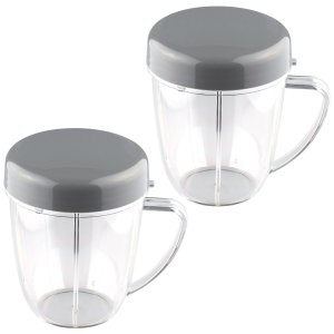 2 Pack 18 oz Handled Short Cup with Re-Sealable Lid Replacement Part Compatible with NutriBullet NB-101B NB-101S NB-201