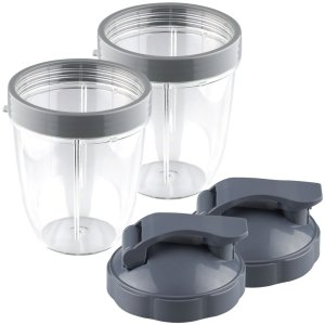 2 Pack 18 oz Short Cup with Lip Ring and Flip To-Go Lids Replacement Part Compatible with NutriBullet NB-101B NB-101S NB-201