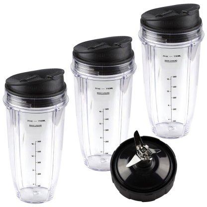3 Nutri Ninja 24 oz Cups with Sip & Seal Lids and 1 Extractor Blade Replacement Combo 483KKU486 408KKU641 409KKU641