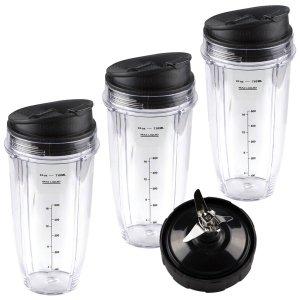 3 Nutri Ninja 24 oz Cups with Sip & Seal Lids and 1 Extractor Blade Replacement Combo 483KKU486 408KKU641 409KKU641