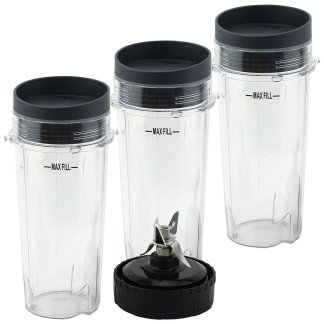 3 Pack 16 oz Cups with Lids and Extractor Blade for Nutri Ninja BL770 BL771 BL772 BL773CO BL780 BL810 BL820 BL830 Parts 303KKU 305KKU 322KKU770