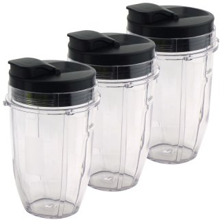 3 Pack 18 oz Cups with Spout Lids Replacement for Nutri Ninja BlendMax DUO with Auto-iQ Boost, Parts 427KKU450 528KKUN100