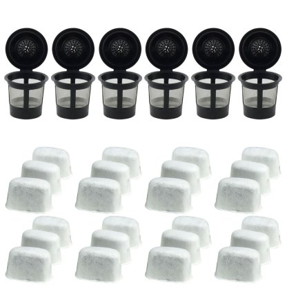 6 Keurig Reusable Single K-Cup Solo Coffee Filter Pods and 24 Charcoal Water Filter Cartridges