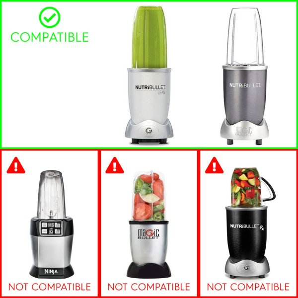 3 Pack 24 oz Tall Cup with Handled Lip Ring + Extractor Blade Replacement Parts Compatible with NutriBullet Lean NB-203 1200W Blenders