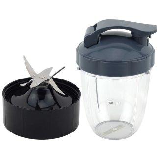 18 oz Short Cup with Flip To Go Lid + Extractor Blade for NutriBullet Lean NB-203 1200W Blender
