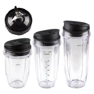 Nutri Ninja 18 24 32 oz Cups with Sip & Seal Lid and Extractor Blade Replacement Combo 427KKU450 483KKU486 407KKU641 408KKU641 409KKU641