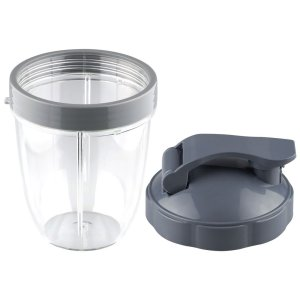 18 oz Short Cup with Lip Ring and Flip To-Go Lid Replacement Part Compatible with NutriBullet NB-101B NB-101S NB-201