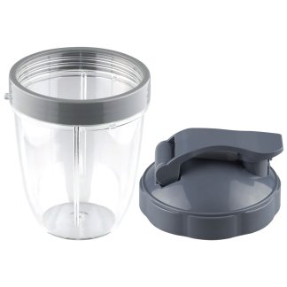 NutriBullet 18 oz Short Cup with Lip Ring and Flip To-Go Lid