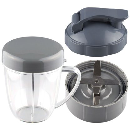 NutriBullet Extractor Blade + 18 oz Handled Short Cup with Re-Sealable Lid and Flip To-Go Lid