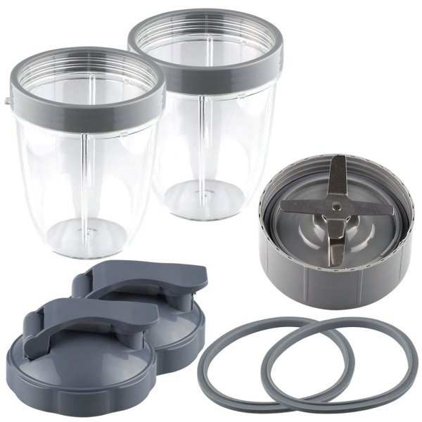 2 Pack 18 oz Short Cups with Lip Ring, Flip To-Go Lids, Extractor Blade and 2 Gaskets Replacement Part Compatible with NutriBullet NB-101B NB-101S NB-201