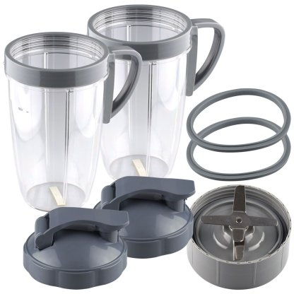 NutriBullet Extractor Blade + 2 24 oz Tall Cup with Handled Lip Ring, Flip To-Go Lids and 2 Gaskets