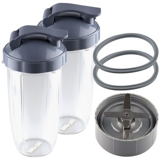 NutriBullet Extractor Blade + 2 32 oz Colossal Cups with Flip To-Go Lids and 2 Gaskets