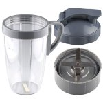24 oz Tall Cup with Handled Lip Ring, Flip To-Go Lid and Extractor Blade Replacement Part Compatible with NutriBullet NB-101B NB-101S NB-201