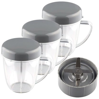 NutriBullet Extractor Blade + 3 18 oz Handled Short Cups with Re-Sealable Lids