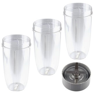 Extractor Blade + 3 Pack 32 oz Colossal Cups Replacement Parts Compatible with NutriBullet 600W 900W Blenders NB-101B NB-101S NB-201