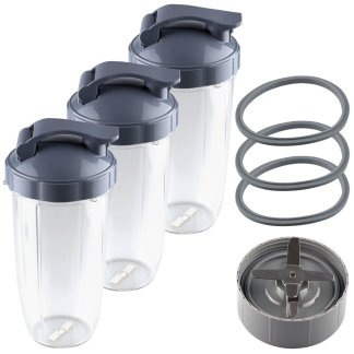 NutriBullet Extractor Blade + 3 32 oz Colossal Cups with Flip To-Go Lids and 3 Gaskets