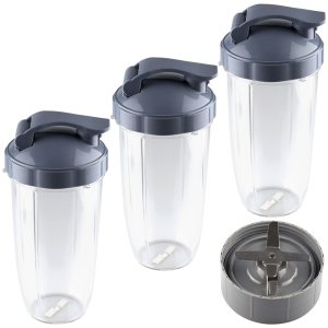 3 Pack 32 oz Colossal Cups with Flip Top To-Go Lids and Extractor Blade Replacement Part Compatible with NutriBullet NB-101B NB-101S NB-201