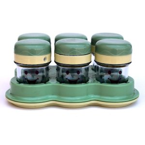 Six Cups with Date Dial Lids Includes Tray Replacement Part Compatible with Baby Bullet BBR-2001