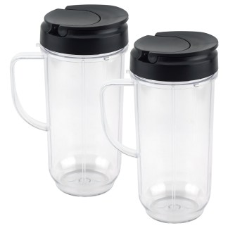 2 Pack 22 oz Tall Cup with Flip Top To-Go Lid Replacement Parts for Magic Bullet 250W MB1001 Blenders