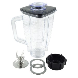 5-Cup Square Top 6-Piece Plastic Jar Replacement Set with Fusion Blade for Oster Blenders