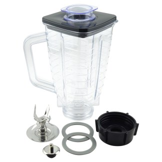 5-Cup Square Top 7-Piece Plastic Jar Replacement Set with Fusion Blade for Oster Blenders