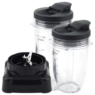 18 oz 24 oz Cups with Spout Lid and Extractor Blade Replacement Part Compatible with Ninja Professional Blenders BL610 NJ600 NJ600WM